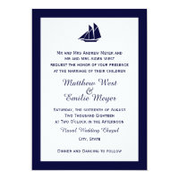 Nautical Navy Blue Sailboat Wedding Invitations