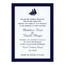 Nautical Navy Blue Sailboat Wedding Invitations