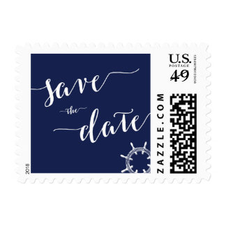Nautical Navy Blue Save The Date Stamps Wheel