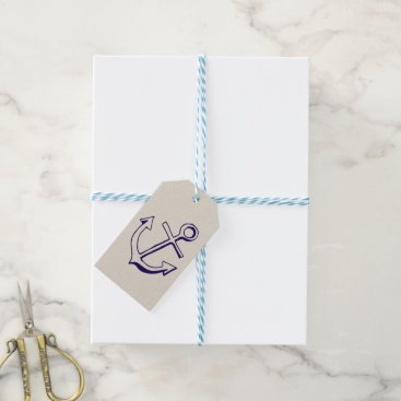 Beach Themed Nautical Navy Blue Ship Anchor Sailor Tan Wedding Gift Tags
