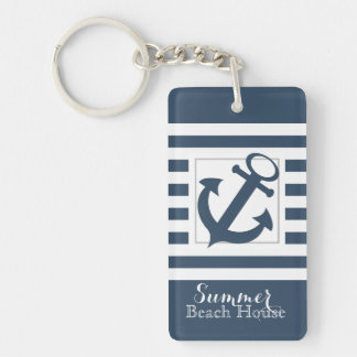 Nautical Navy Blue Stripe Beach House Keychain