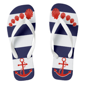 Nautical Navy Blue Stripe Red Anchor Seashell Toes Flip Flops
