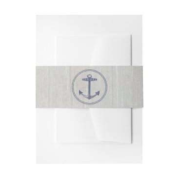 Beach Themed Nautical Navy Blue Stripes | Nautical Anchor Invitation Belly Band