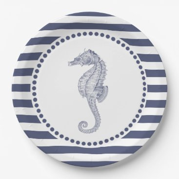 Beach Themed Nautical Navy Blue Stripes | Seahorse Paper Plate
