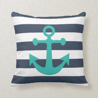 Nautical Navy Blue Stripes Turquoise Anchor Pillow