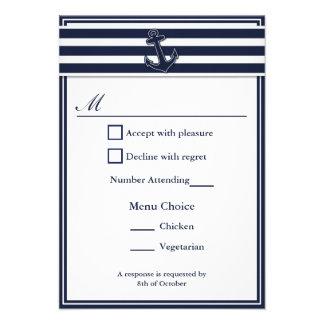 Nautical Navy Blue Swallows RSVP 2 Menu Choice Invite