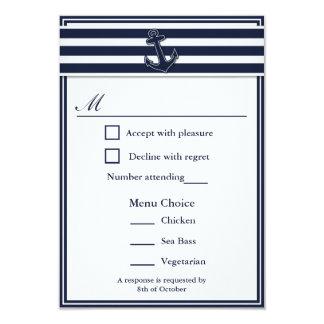 Nautical Navy Blue Swallows RSVP 3 Menu Choice 3.5x5 Paper Invitation Card