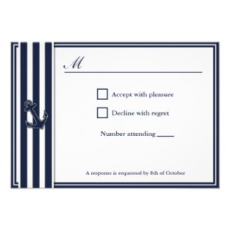 Nautical Navy Blue Swallows RSVP invititation Personalized Announcement