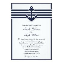 Nautical Navy Blue Swallows Wedding Invitation
