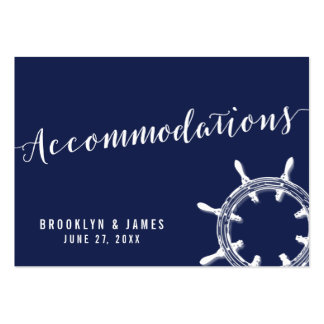 Nautical Navy Blue Wedding Accommodation Cards Large Business Card