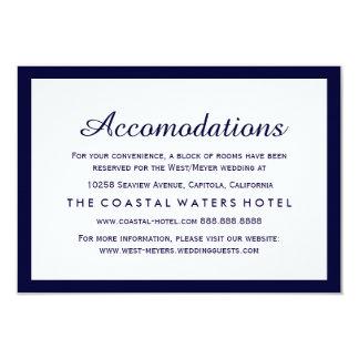 Nautical Navy Blue Wedding Accommodations Hotel Card