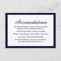 Nautical Navy Blue Wedding Accommodations Hotel Enclosure Card