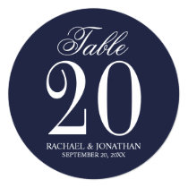 Nautical Navy Blue Wedding Circle Table Number