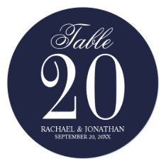 Nautical Navy Blue Wedding Circle Table Number at Zazzle