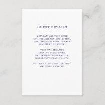 Nautical   Navy Blue Wedding Guest Details Insert