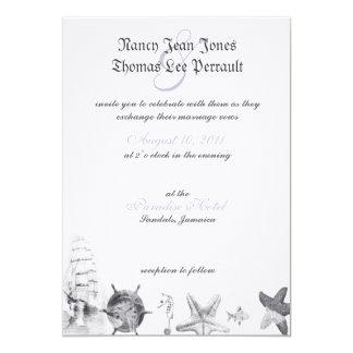 Nautical Navy Blue Wedding Invitation