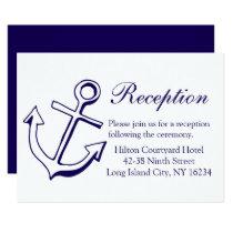 Nautical Navy Blue Wedding Reception Ship Anchor Invitation