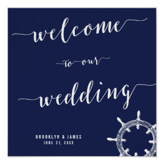 Nautical Navy Blue Wedding Reception Sign 15x15