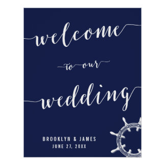 Nautical Navy Blue Wedding Reception Sign 22x28 Poster
