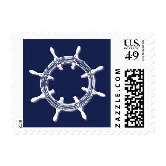 Nautical Navy Blue Wedding Stamps Wheel