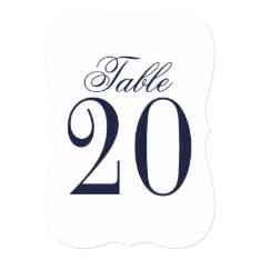 Nautical Navy Blue Wedding Table Number at Zazzle