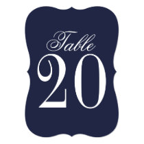 Nautical Navy Blue Wedding Table Number
