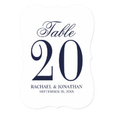 Nautical Navy Blue Wedding Table Number Card at Zazzle