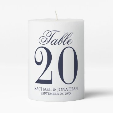 Beach Themed Nautical Navy Blue Wedding Table Number Pillar Candle