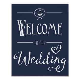 Nautical Navy Blue Welcome to our wedding print