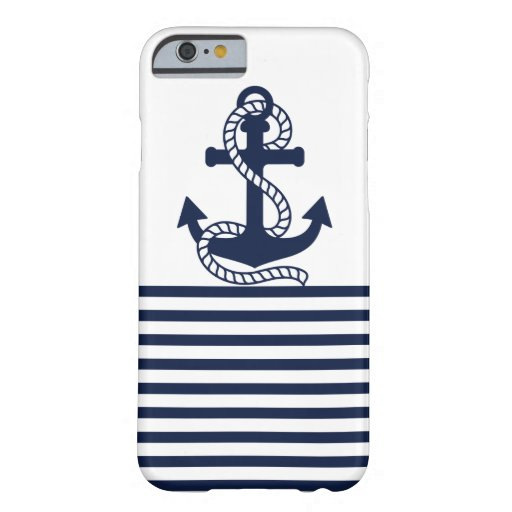 Nautical Navy Blue/White Anchor iPhone 6 Case