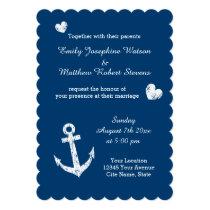 Nautical navy blue white anchor wedding invitation
