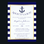 "Nautical Navy Blue/White BOY Baby Shower Invites<br><div class=""desc"">Stunning nautical theme baby shower invitation card for boys. Navy blue and white stripes pattern with gold foil frame and lovely anchor to add that perfect yet elegant touch. All text can be edited - AHOY IT&#39;S A BOY! can bed changed to BABY JOHNSON or BABY DANIEL. This card can...</div>"