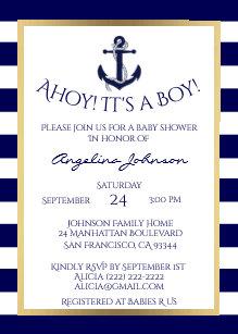 Nautical baby shower invitations zazzle nautical navy bluewhite boy baby shower invites filmwisefo
