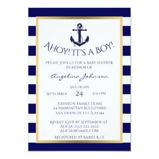 Nautical Navy Blue/White BOY Baby Shower Invites