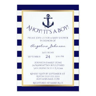 Lovely Nautical Navy Blue/White BOY Baby Shower Invites