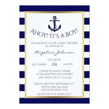 Toddler & Baby themed Nautical Navy Blue/White BOY Baby Shower Invites