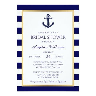 Nautical Navy Blue/White Bridal Shower Invitations