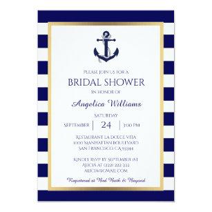 7a80aa387131 Nautical Navy Blue White Bridal Shower Invitations