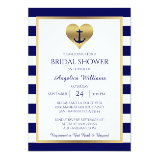 Nautical Navy Blue White Bridal Shower Invitations