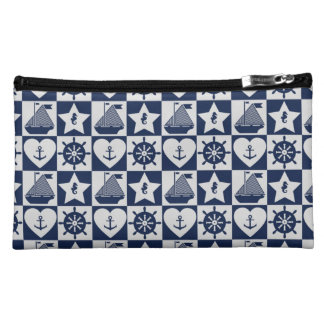 Nautical navy blue white checkered cosmetic bag