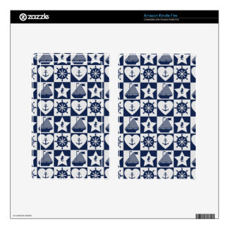 Nautical navy blue white checkered decal for kindle fire