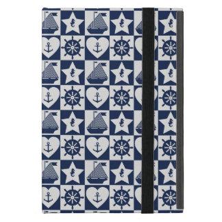 Nautical navy blue white checkered iPad mini case