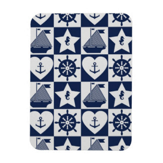 Nautical navy blue white checkered magnet