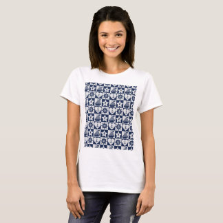 Nautical navy blue white checkered T-Shirt