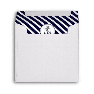 Nautical Navy Blue White Diag Stripe #2 SQ Envelope