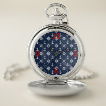 Nautical, Navy Blue, White, Red Pocket Watch