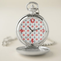 Nautical, Navy Blue, White, Red Pocket Watch 2