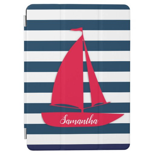 Nautical Navy Blue White Stripe Monogram Red Boat iPad Air Cover