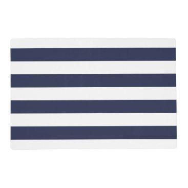 Beach Themed Nautical navy blue white stripe wedding placemats