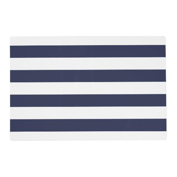 Nautical navy blue white stripe wedding placemats